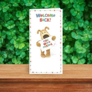 Boofle Welcome Home Greeting Card Sitting On The Shelf