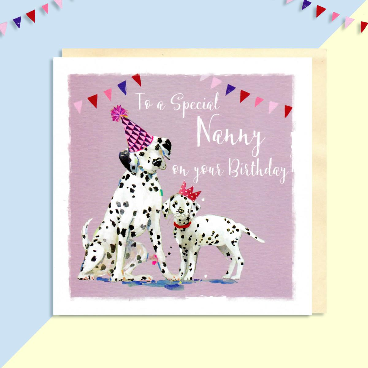 Dalmatian Birthday Card Displayed Full Image