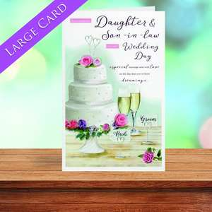 Daughter Wedding Card Sitting On A Wooden Shelf