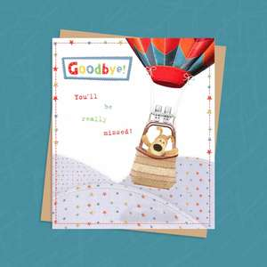 Boofle Bear Standing Inside A Hot Air Balloon Goodbye Card
