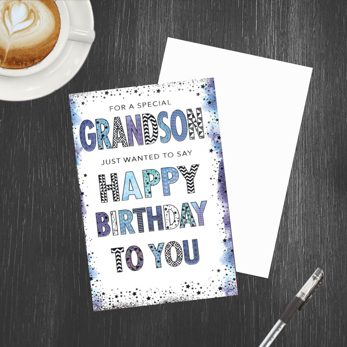 Grandson Pizazz Birthday Card Alongside Its Envelope