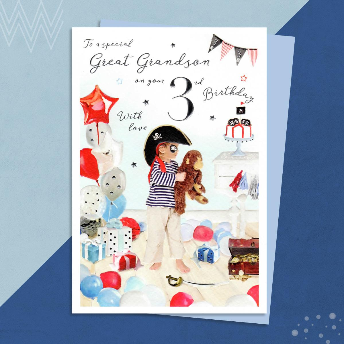 Age 3 Pirate Themed Great Grandson Birthday Card Sitting On A Display Shelf