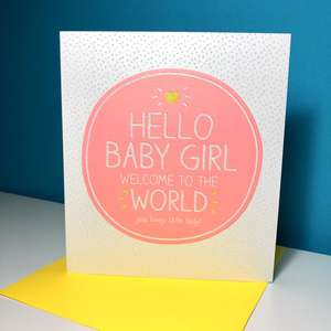 Baby Girl Birth Card Alongside Its Yellow Envelope