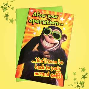 Get Well After Your Operation Card Alongside Its Green Envelope