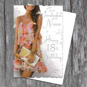 Niece 18 Handbag Birthday Card Displayed Alongside Its White Envelope
