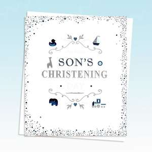 On Your Sons Christening Card Alongside A White Envelope
