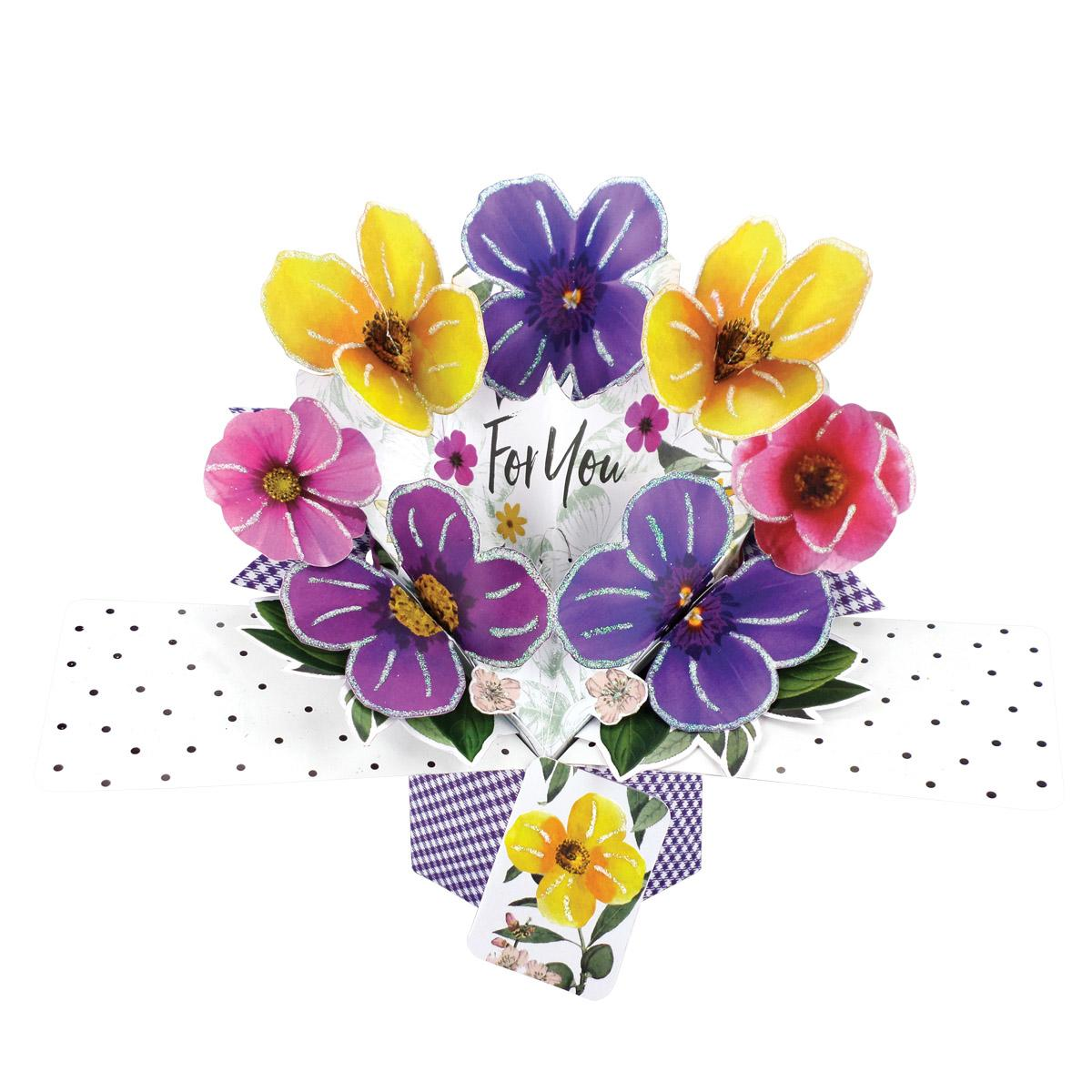 Pansies Pop Up Card Shown How The Recipient Will Receive It