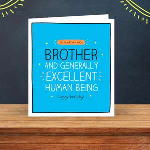 Brother Birthday Card Sat On A Wooden Display Shelf