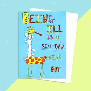 Real Pain In The Neck Get Well Soon Greeting Card Alongside Envelope