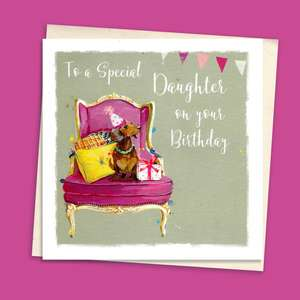 Dachshund Daughter Birthday Card Sitting On A Display Shelf