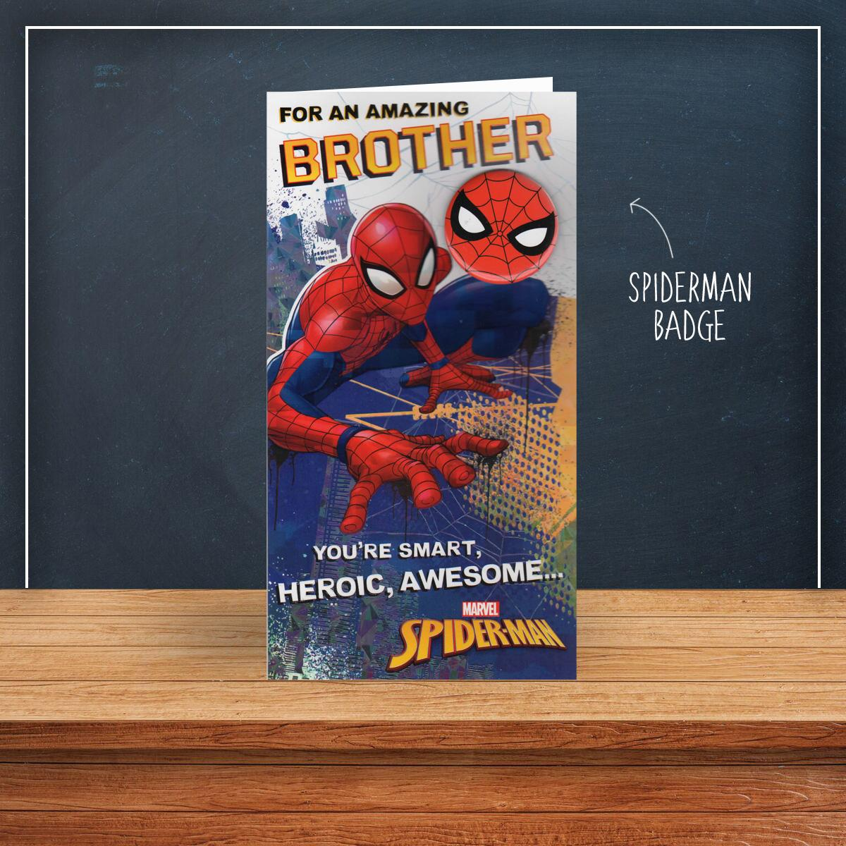 Spiderman Brother Birthday Card Sitting On A Display Shelf