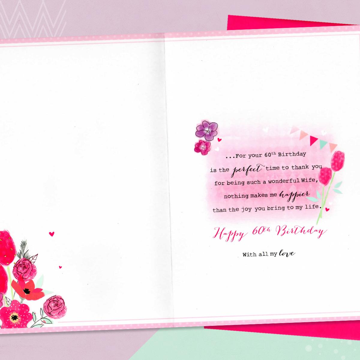 Inside Of Age 60 Wife Birthday Card Showing Layout And Printed Text