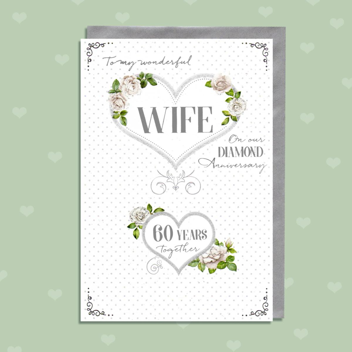 Wife 60th Anniversary Card Alongside Its Silver Envelope