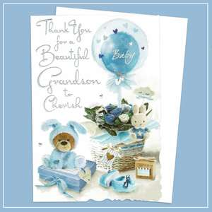 Thank For For Baby Grandson Greeting Card Alongside Its White Envelope