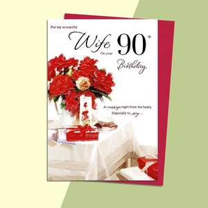 Wife On Your 90th Birthday Card Alongside Its Red Envelope