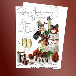 Mum And Dad Ruby Anniversary Card Alongside Its White Envelope