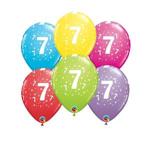 Image Of 6 Inflated Age 7 Latex Multicoloured Balloons