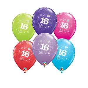 Image Of 6 Age 16 Multicoloured Latex Balloons