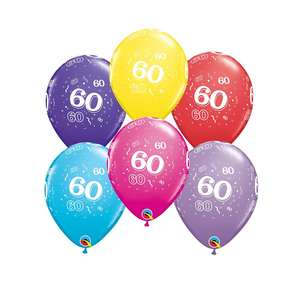 Image Of 6 Inflated Age 60 Multicoloured Latex