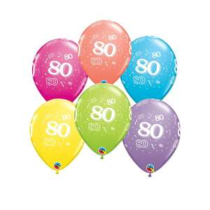 Image Of 6 Inflated Multicoloured Age 80 Latex Balloons