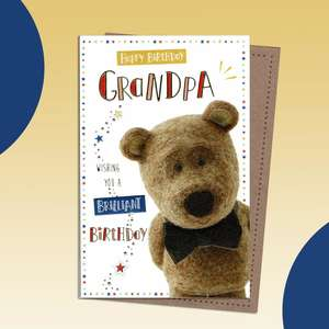 Best Grandpa Cute Bear In Bow Tie Birthday Card Complete With Gold Foiled Lettering