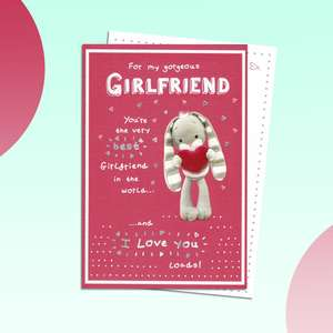 Girlfriend Birthday Card Featuring A Cute Bunny Holding Love Heart