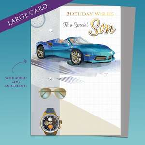 Blue Sports Car Traditional Birthday Card Sitting On A Display Shelf