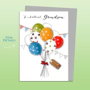 Grandson Balloons Birthday Card Alongside Its Silver Envelope