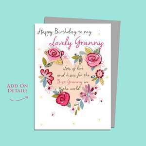 Granny Floral Wreath Birthday Card Alongside Its Silver Envelope
