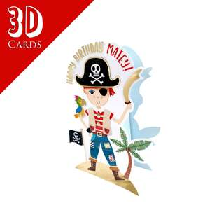3D Pirate Birthday Card Alongside Its Blue Envelope