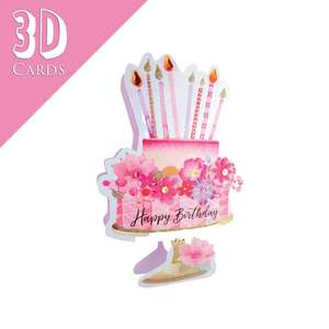 3D Birthday Cake Greeting Card Alongside Its Lilac Envelope