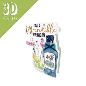 Gin Themed 3D Birthday Card Alongside Its Teal Envelope