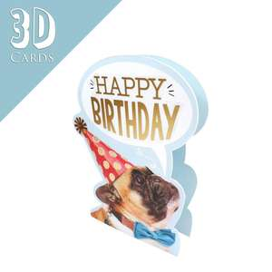 3D Dog Themed Birthday Card Alongside Its Gold Envelope