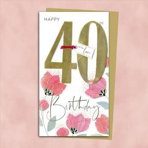 40th Flowers Handmade Birthday Card Alongside Its Gold Envelope