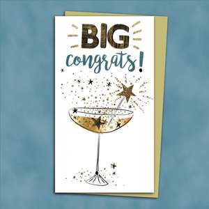 Handmade Congratulations Card Alongside Its Gold Envelope