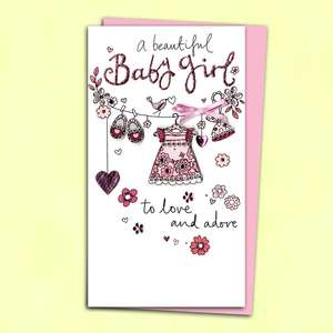 Baby Girl Congratulations Card Alongside Its Pink Envelope