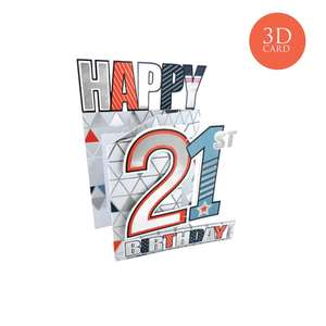 3 Fold Age 21 Male Birthday Card Alongside Its Silver Envelope
