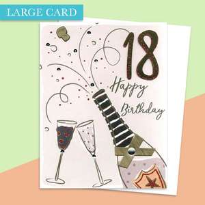 Age 18 Large Birthday Card Alongside Its White Envelope