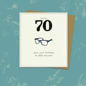Age 70 Birthday Card Alongside Its Kraft Envelope