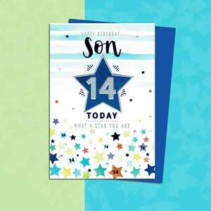 Son Age 14 Birthday Card Sitting On A Display Shelf