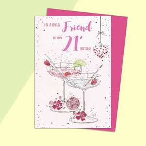 Friend 21st Birthday Card Alongside Its Magenta Envelope