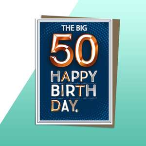 Age 50 Copper Themed Birthday Card Alongside Its Kraft Envelope