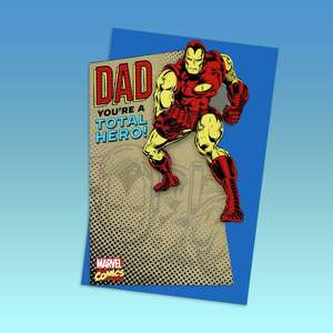 Dad Incredible Iron Man Birthday Card Displayed On The Shelf