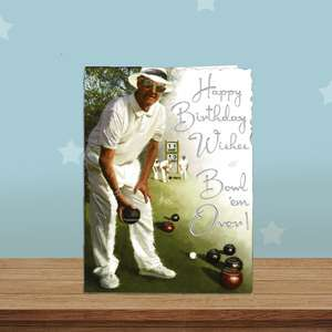 Bowls Themed Birthday Card Alongside Its White Envelope