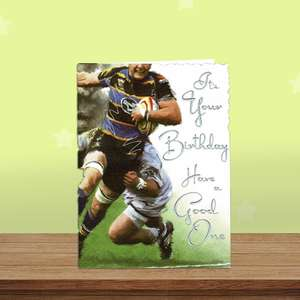 Rugby Themed Birthday Card Alongside Its White Envelope