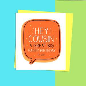 Cousin Birthday Card Alongside Its Neon Yellow Evelope