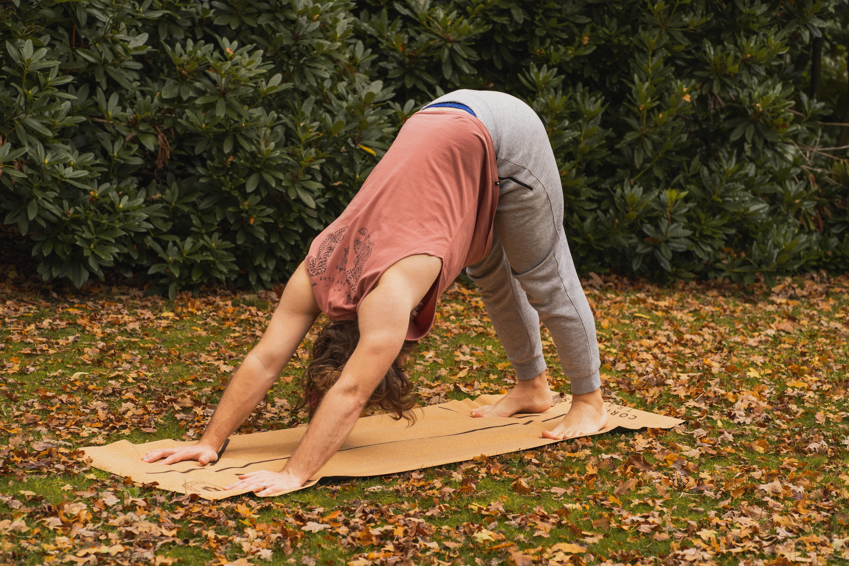 downward dog UK cork yoga mat asana pose