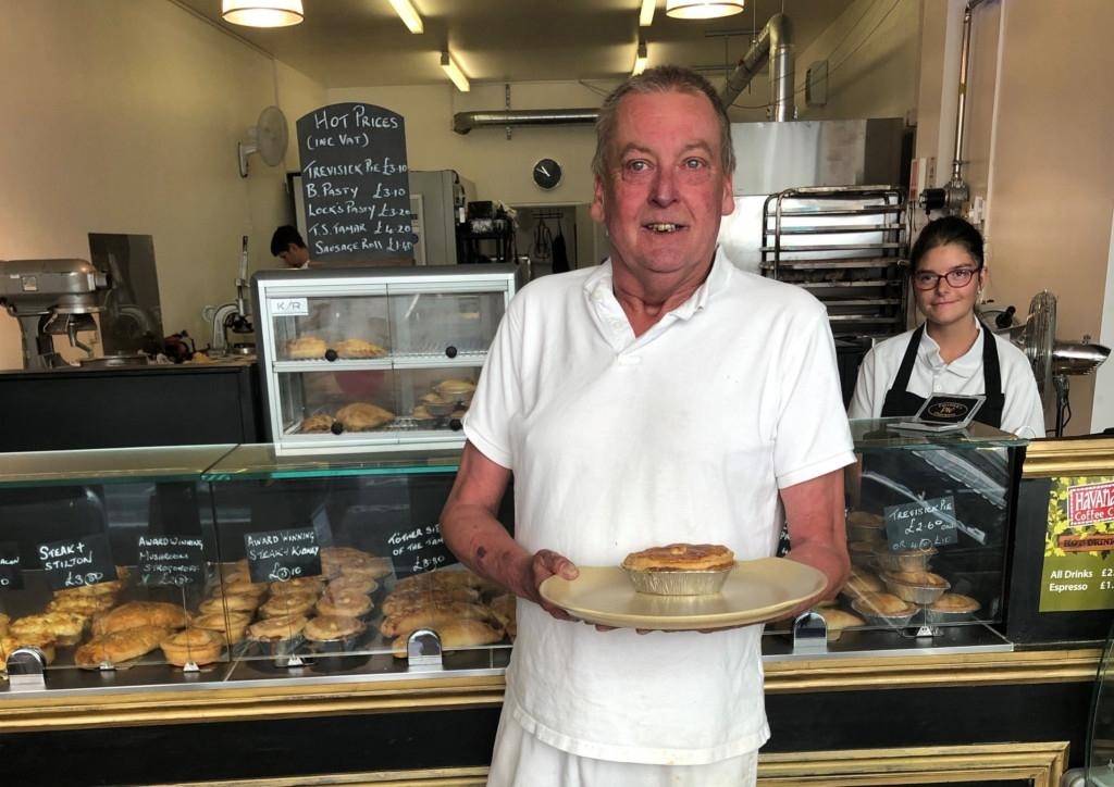 Baker Nick Lock, holding one of his Great Taste Award Winning pies