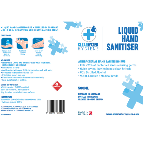 500ml hand sanitisers for re-filling wall dispensers