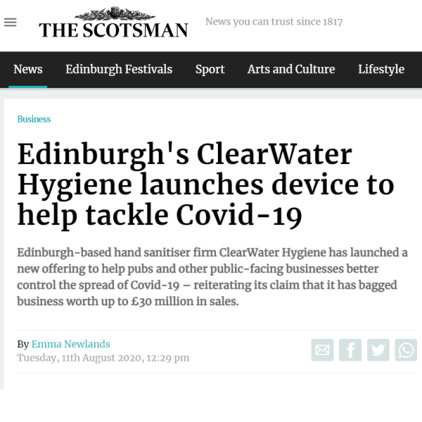 The Scotsman covers ClearWater Hygiene's new SMART stand solution.